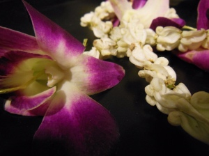 The beautiful lei made of Thai flowers given to us upon arriving in Thailand